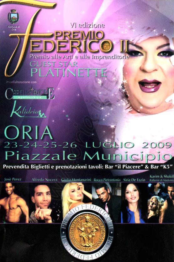 Premio Federico II edizione 2009 - Musica Arte e Spettacolo ad Oria