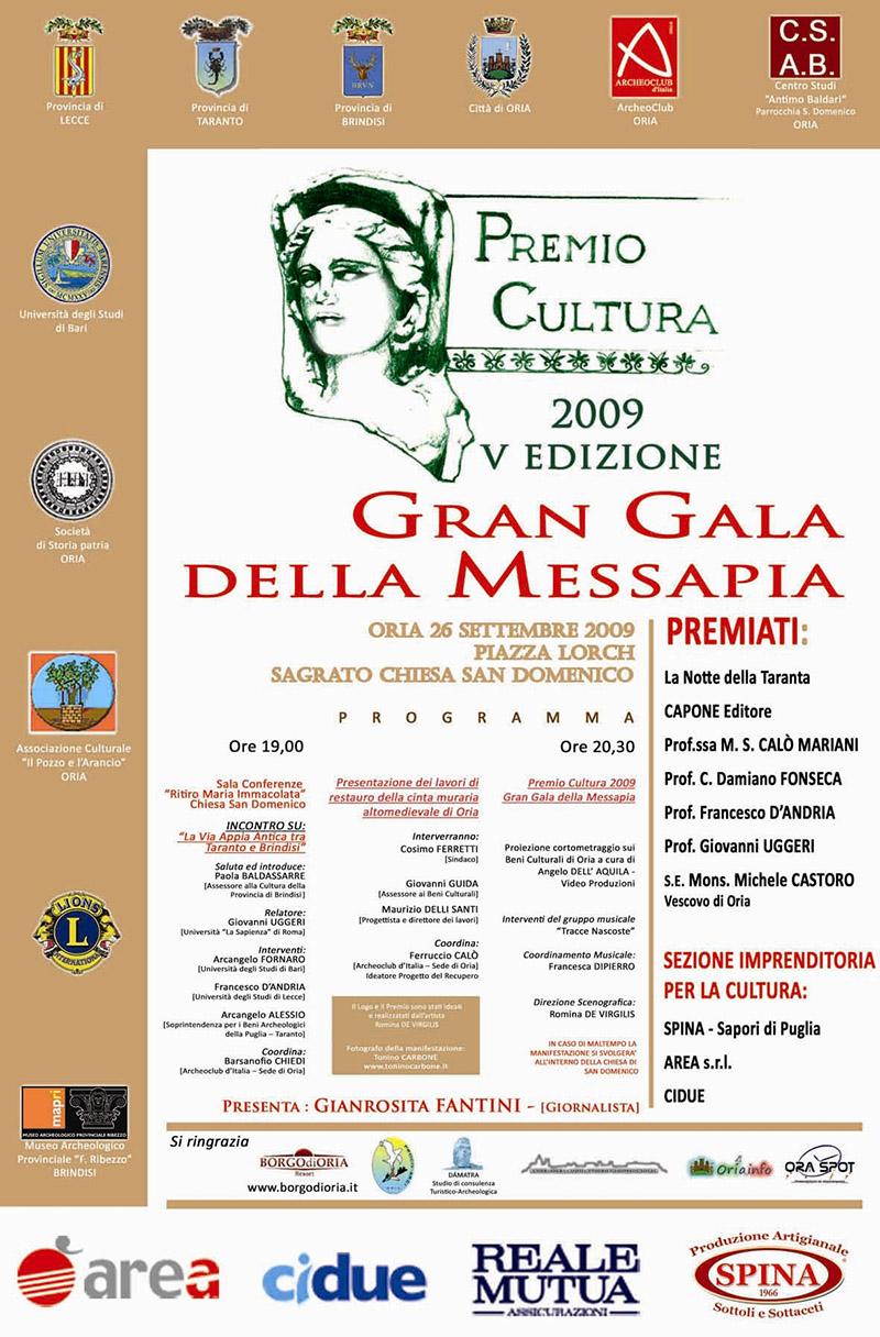 Premio Cultura 2009 Gran Galà dei Messapi.