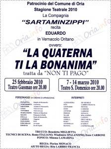 """La Quaterna ti la Bonanima"""" teatro ad Oria"""