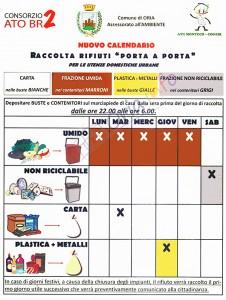 Oria: Nuovo calendario per la raccolta differenziata