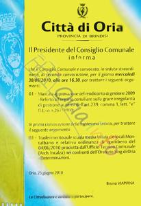 Oria: Consiglio Comunale sullo sfratto dell'Oratorio Sing.