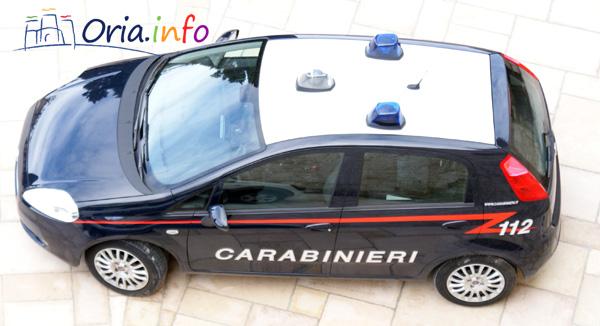 Un'auto dei Carabinieri della Stazione di Oria