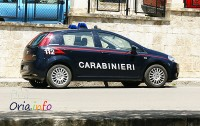 Un'auto dei Carabinieri di Oria, i militari della città messapica sono intervenuti in supporto dei colleghi di San Pancrazio