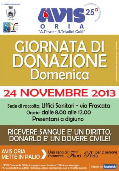 AVIS_Comunale_ORIA-Manifesto_Donazione-24nov13