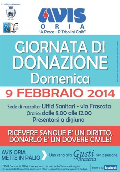 AVIS_Comunale_ORIA-Manifesto_Donazione_09feb14
