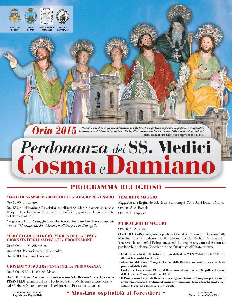 Manifesto Santi Medici Oria 2015