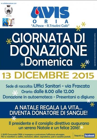 AVIS ORIA DONAZIONE DIC 2015